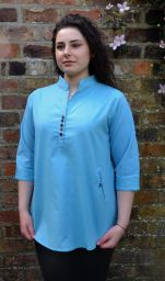 Fine cotton - coconut button top - turquoise