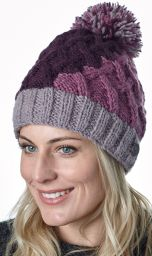 Hand knit - lattice step bobble hat - Aubergine/haze