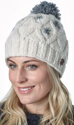 Pure wool - diamond cable bobble hat - White/mid grey