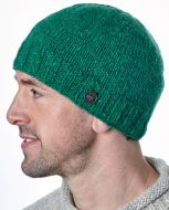 Pure wool - plain beanie - pepper green