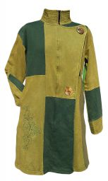 Embroidered Patchwork Coat - Green