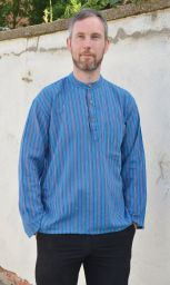 Light weight - Striped Cotton Shirt - Blues