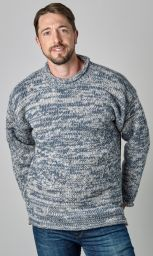 hand knit jumper - two tone - Blue/White