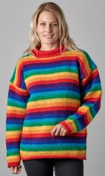 Pure wool jumper - stripe - Rainbow