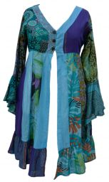 Cotton Patchwork - Jaipuri - Midi Coat - blue