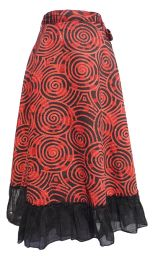 Swirl Pattern - Wrapover Skirt - Cherry Red