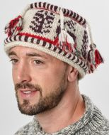 Pure wool - reindeer tassel hat - white/aubergine/red