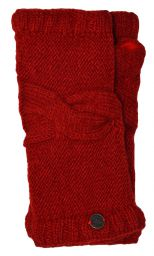 NAYA - pure wool - cable twist - wristwarmer - deep red