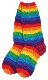 wool hand knit socks - Rainbow stripe