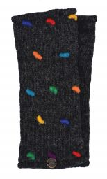 Fleece lined wristwarmers - french knot - Charcoal/Rainbow