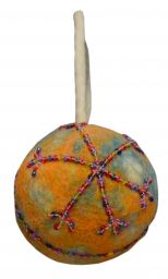 Felt - Beaded - Christmas Bauble - Orange