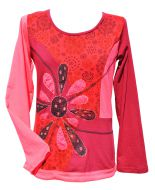 Applique - large flower - long sleeve top - red