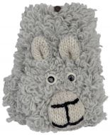 Hand knit pure wool - sheepy wristwarmer - grey