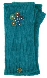 Fleece Lined - Wristwarmers - Sparkle Felt Flower - Turquoise