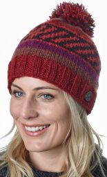 Pattern bobble hat - hand knitted - autumn