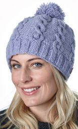 Cable bobble hat - pure wool - hand knitted - lilac