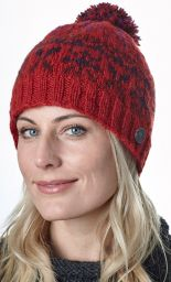 Festive Bobble - pure wool - fleece lined - red