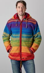 Pure wool -  reverse electric hooded jacket - rainbow