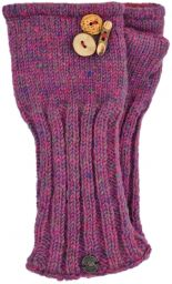 Fleece lined wristwarmer - fruit button - Pink heather