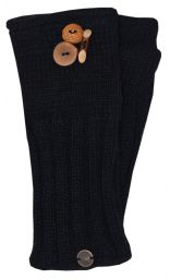Fleece lined wristwarmer fruit button - Black