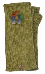 Fleece Lined - Wristwarmers - Felt Flower - Moss Green