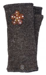 Fleece Lined - Wristwarmers - Sparkle Felt Flower - Marl Brown