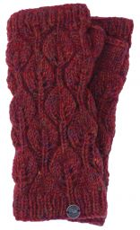 Fleece lined - leaf pattern -  wristwarmers - Rust Heather