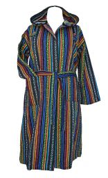 Gheri - soft brushed cotton - dressing gown/robe - dark green/multi