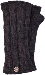 Fleece lined wristwarmer - cable - conker