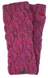 Fleece lined - leaf pattern -  wristwarmers -  pink heather