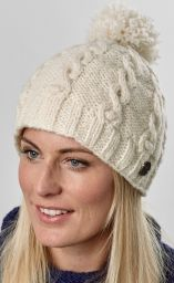 Cable bobble hat - pure wool - hand knitted - white