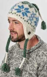 Snowflake ear flap hat - pure wool - hand knitted - fleece lining - white / green / blue