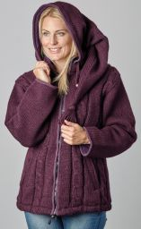 SALE - Detachable pixie hood - cable jacket - Aubergine
