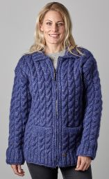 fine wool mix - cable jacket - Blue