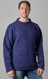 Pure new wool - hand knit jumper - Blue