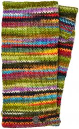 Pure wool - electric stripe wristwarmers - green
