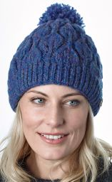 Leaf bobble hat - hand knitted - pure wool - fleece lining - blue heather