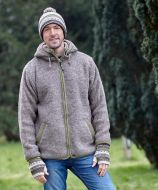Pure wool - detachable hood - contrast trim - marl brown/lichen
