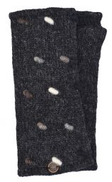 Fleece lined wristwarmers - french knot -  Charcoal