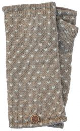 Fleece lined wristwarmer - tick - Taupe/white