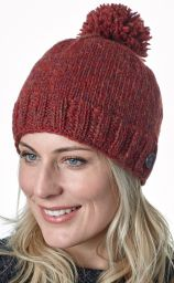 Classic bobble hat - hand knitted - fleece lining - rust heather