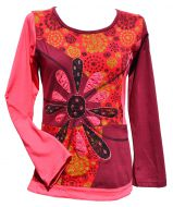 Applique large flower - long sleeve top - red