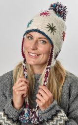 Pure wool - half fleece lined - starburst - earflap hat - White