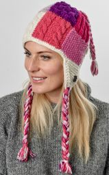 Patchwork ear flap hat - pure wool - hand knitted - fleece lining - pinks