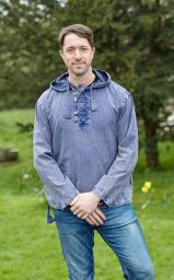 Stonewashed overshirt with toggles - Blue