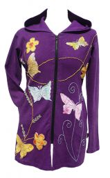 Butterfly And Flower Long Jacket - Purple