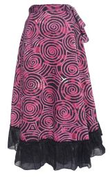 Swirl Pattern - Wrapover Skirt - Rose Pink