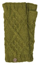 Fleece Lined - Wristwarmers - Trellis Diamond - Green