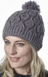 Leaf bobble hat - hand knitted - pure wool - fleece lining - pale heather