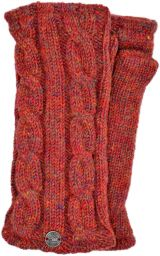 Fleece lined wristwarmer - cable - rust heather